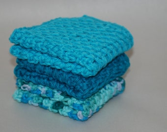 Cute Blue Cotton Washcloths / Crochet Washcloth