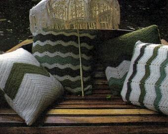 Pattern Only: Vintage Chevron Pillows - Four Crochet Patterns - 1985 - PDF Download