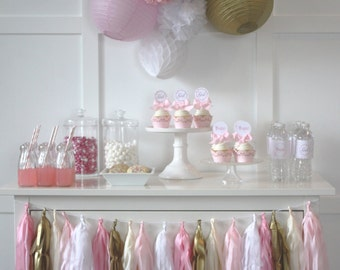 Baby Shower In A Box. Complete party package for a girl baby shower.
