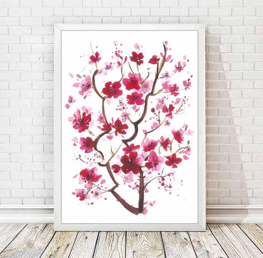 Aquarelle de fleurs de cerisier japonais peinture abstraite - Branche de cerisier japonais ...
