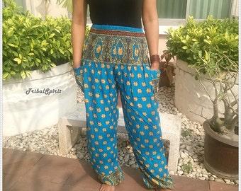 Blue Elephants Printed Yoga Pants Hippie Baggy Boho Gypsy Pantalon Tribal Hipster Plus Size Aladdin Clothing Baggy Unisex Harem Trousers