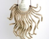 Strings necklace, Linen 100%, crochet strings necklace, glass beaded necklace, linen fiber jewelry, Eco friendly necklace, boho bib necklace