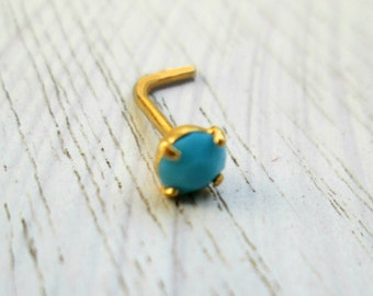Turquoise Nose Stud - gold filled turquoise nose post