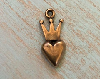 Crown Heart Charm/Pendant, Artisan Bronze Charms, Wholesale Jewelry Supplies