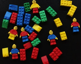 lego cake topper 30pcs lego cupcake toppers edible fondant topper (6men and 24blocks) assorted sizes and colors