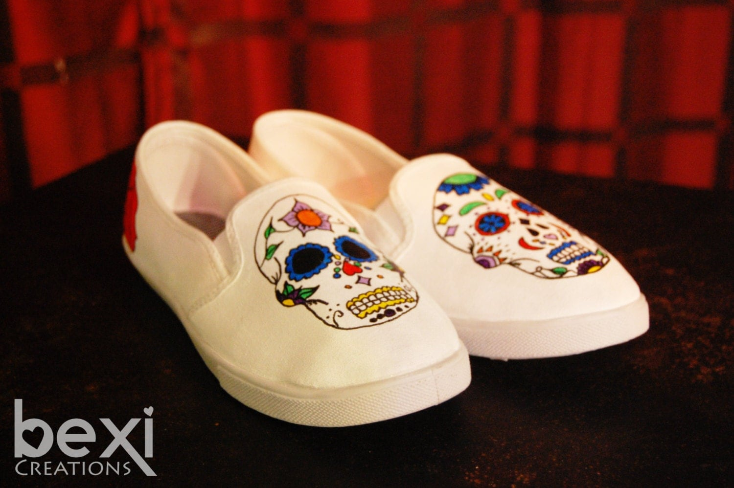 Hand Painted Sugar Skull Canvas Shoes by BexiCreations on Etsy