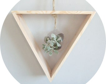 wooden triangle hanging planter - pine triangle with glass succulent holder - geometric airplant shelf