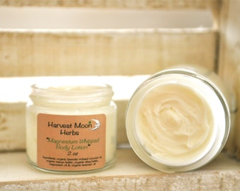 Magnesium Lotion - Body Butter - Magnesium Oil - Lavender Infused Moisturizer - Whipped Lotion -  Organic - Natural - 2 oz - 4 oz Glass Jar