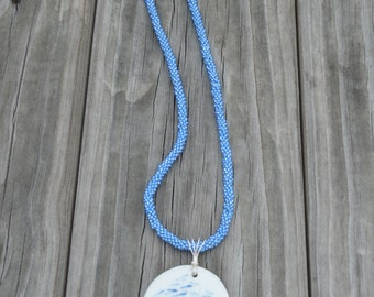 Necklace Pendant Kumihimo Blue Beaded with Blue and White Glass