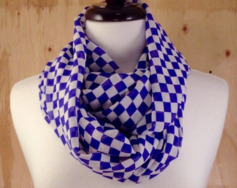 Lightweight Circle Scarf - Blue & White Check Print – infinity scarf, loop scarf, chiffon, versatile, spring, summer
