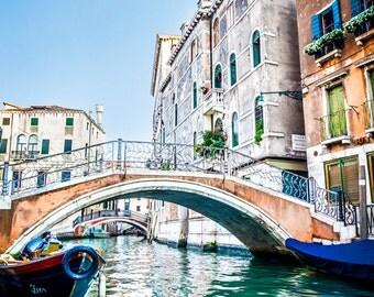 Bridge in Venice, Photos of Venice Italy, Italian Decor, Fine Art Photography, Canvas Gallery Wrap, Archival Photographic Paper & Metal