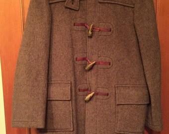 Women's Vintage Montana Garment Wool Plaid Toggle Coat