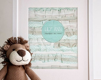 Custom Mint Ruffles Print - Add Your Names/Date of Your Choice - Nursery Art