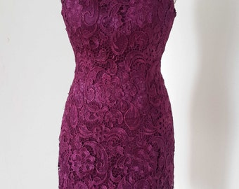 2015 Cap Sleeves V-back Grape Lace Short Bridesmaid Dress