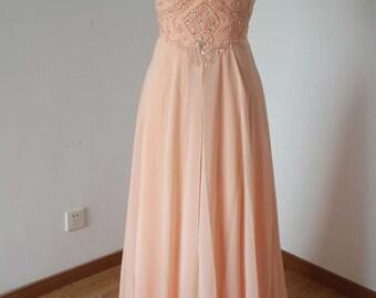 2015 Backless Spaghetti Straps Light Peach Chiffon Long Prom Dress