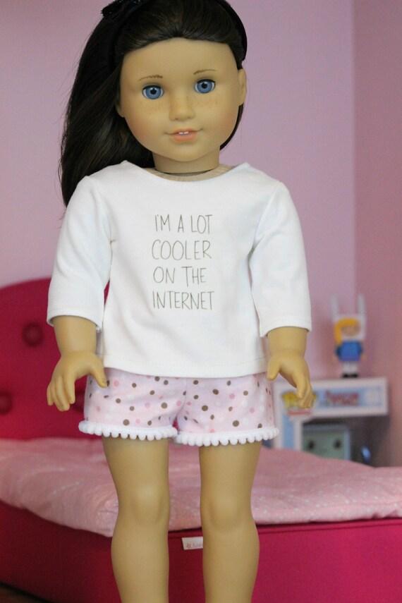 Pink Polka Dot Pom Pom Shorts for AMerican Girl or 18 inch dolls