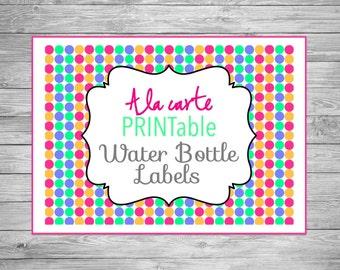 Printable Water Bottle Labels, A La Carte Water Bottle Labels, A La Carte Printable Water Bottle Labels