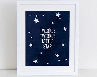 Twinkle Twinkle Little Star Art Print, Instant Download, Printable Digital Art Print, Nursery Stars Art Print, Nursery Wall Decor Watercolor