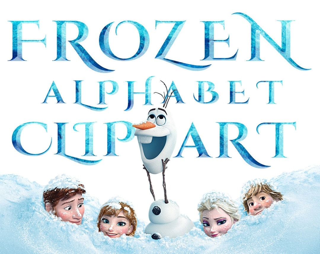 SALE Frozen Alphabet Clipart 40 PNG Printable Frozen