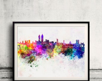 Mumbai skyline in watercolor background 8x10 in to 12x16 Poster Digital Wall art Illustration Print Art Decorative  - SKU 0156