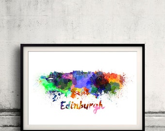 Edinburgh skyline in watercolor over white background with name of city 8x10 in. to 12x16 in. Poster Wall art Illustration Print  - SKU 0329