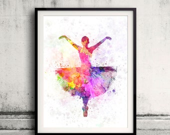 Woman ballerina ballet dancer dancing 8x10 in. to 12x16 in. Poster Digital Wall art Illustration Print Art Decorative  - SKU 0493