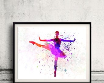 Woman ballerina ballet dancer dancing 8x10 in. to 12x16 in. Poster Digital Wall art Illustration Print Art Decorative  - SKU 0498
