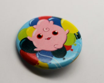 Igglytuff w/ Balloon Background 1.25'' inches Pinback Button - Made from REAL Pokemon Card!