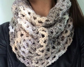 Chunky Cowl Scarf | Crochet Cowl | Mixed Beige