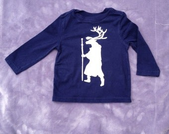 Upcycled Graphic tee reindeer long-sleeved, 18 month