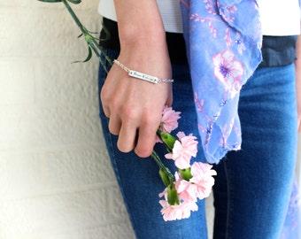 Personalised Sterling Silver Name Plate Bracelet/ Bridesmaids Bracelet/ Flower girl bracelet/ Wedding bracelet/ Personalized Bracelet