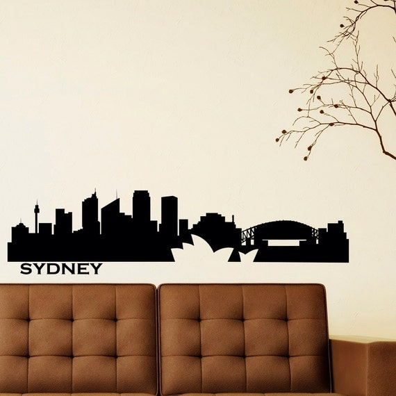 Sydney skyline wall decal vinyl sticker city by fabwalldecals Home decor wall decor australia