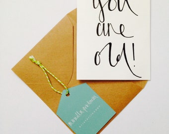Handmade calligraphy 'You Are Old' birthday card