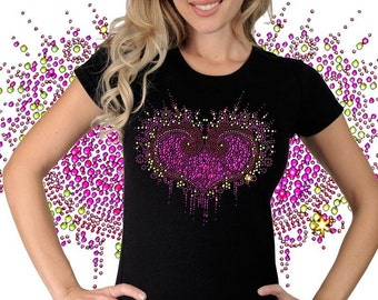 Women's Rhinestone Hot Pink Red Heart Burst Jeweled Design T-Shirt