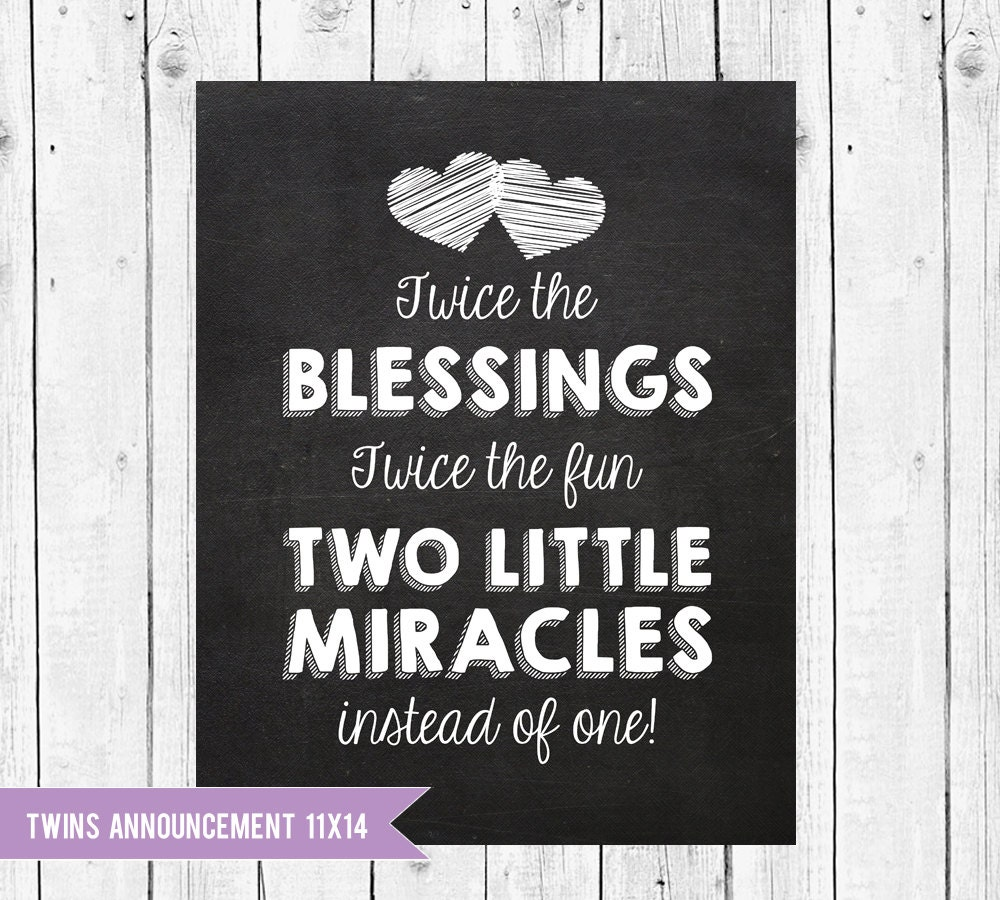 Twins Pregnancy Announcement Chalkboard Twins Are A