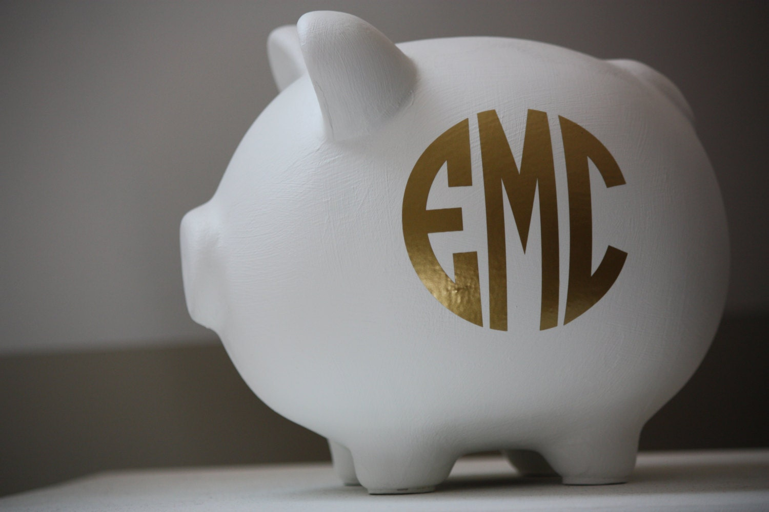 Large White And Gold Monogram Personalized Piggy Bank