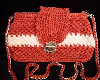 Red and White Crochet Handle bags Red and Pearl Handbag Red Handbag Red Purse Red Tote Red Luxury Handbag (N38)