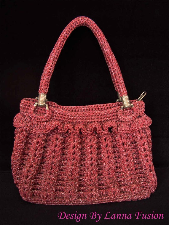 Red Crochet Handle bags Red Handbag Red Purse Red Tote Red Luxury ...