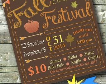 FALL FESTIVAL ~ Autumn Community Event ~ 5x7 Invite ~ 8.5x11 Flyer ~ 11x14 Poster ~ 300 dpi Digital Invitation