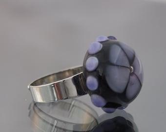 Purple and Black Lampwork Glass Flower Ring, Black, Amethyst, Purple Glass Ring