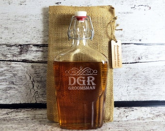 Personalized Glass Flask 500 ml - Custom Groomsmen Gift - Gifts for Men - Best Man- FREE ENGRAVING