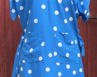 SALE Electric Blue Polka Dot Vintage Dress