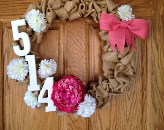 Burlap Address Wreath, Floral, Numbers, Perfect for your Front Door