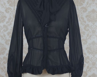 Black Long Sleeve Chiffon Blouse Victorian Steampunk Lolita