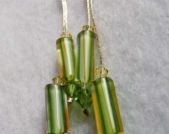 Handmade Furnace cane glass and Swarovski Crystal earrings in Green