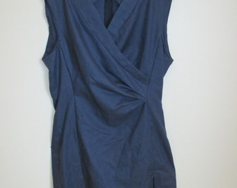 Handmade Blue Dress with Criss-Cross Neckline, size AU14