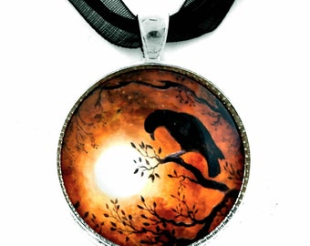 Raven Pendant Crow Bird Necklace Moon Edgar Allan Poe Jewelry Halloween Tree Branches Silhouette Sepia Handmade Wiccan Pagan Gypsy Boho Art