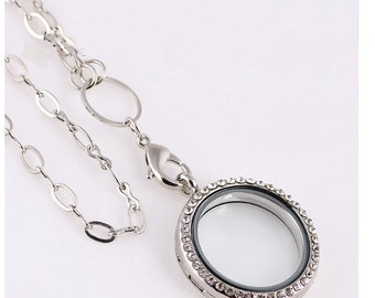 Glass magnetic locket necklace for my floating charms origami pendant owl rhinestone wedding living silver circle chain