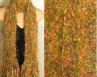 Hand Knit Scarf Eyelash Ribbon Green yellow orange pink