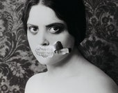 Toothy - FREE SHIPPING Surreal Photo Print Creepy Portrait Dark Art Face Teeth Torn Paper Distorted Black & White Poster Wall Decor Strange